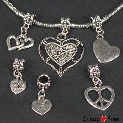 lots 30x mixed Tibetan silver HEART DANGLE Charms Beads