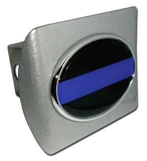 POLICE THIN BLUE LINE BRUSHED TRAILER HITCH COVER