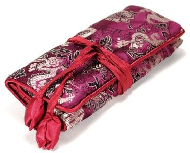 SILK JEWELRY TRAVEL BAG Roll Case Pouch Carrying Brocade Fabric Dragon