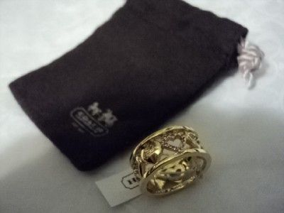 NEW coach open heart crystal band ring/gold size 6 F94940 pink/gold