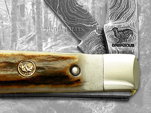 HEN & ROOSTER AND Stag Damascus Doctor Pocket Knives