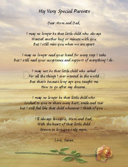 PERSONALIZED POEM FOR MOM & DAD GIFT FOR PARENTS