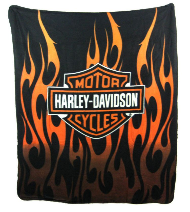 Harley Davidson Bar Shield Tribal Flames Blanket