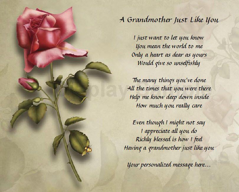 Personalized Grandmother Poem Birthday Christmas Gift